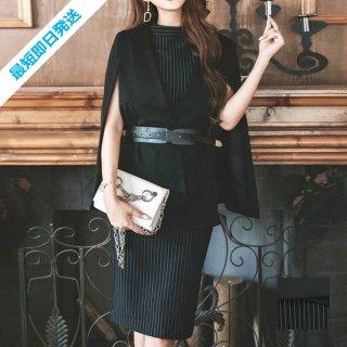 【即納】韓国 ファッション ワンピース パーティードレス ひざ丈 ミディアム 秋 冬 春 パーティー ブライダル SPTX5574 結婚式 お呼ばれ セット ポンチョ マント 二次会 セレブ きれいめ