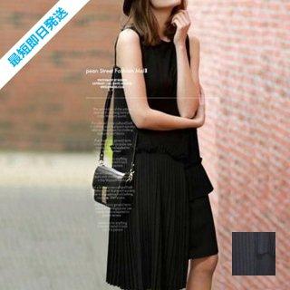 【即納】韓国 ファッション ワンピース 夏 春 カジュアル SPTX3456  アシンメトリー プリーツ ノースリーブ Uネック ボックス オルチャン シンプル 定番 セレカジ