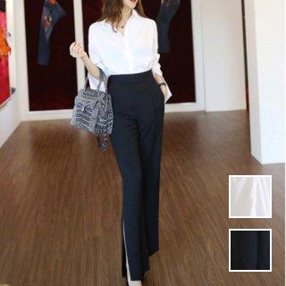 韓国 ファッション パンツ セットアップ パーティードレス 結婚式 お呼ばれドレス 春 夏 パーティー ブライダル PTXB409  ベーシック 白シャツ スリット ワイドパ 二次会 セレブ きれいめ