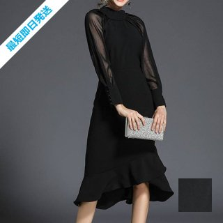 【即納】韓国 ファッション ワンピース パーティードレス ロング マキシ 秋 冬 春 パーティー ブライダル SPTX8713 結婚式 お呼ばれ シースルー ハイネック マー 二次会 セレブ きれいめ