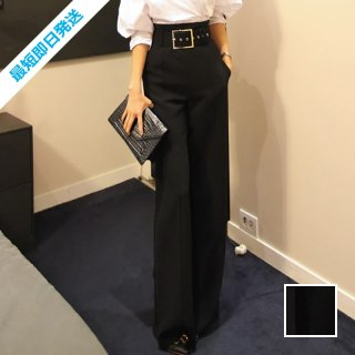 【即納】韓国 ファッション パンツ ボトムス 夏 春 パーティー ブライダル SPTXA394  太ベルト ウエストマーク センタープレス ワイド オフィス 二次会 セレブ きれいめ
