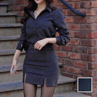 韓国 ファッション パーティードレス 結婚式 お呼ばれドレス セットアップ 秋 冬 パーティー ブライダル PTXC473  ストライプ シャツ マイクロミニスカート ドレス 二次会 セレブ きれいめ