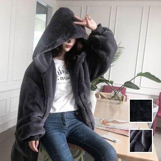 韓国 ファッション アウター ムートン ファーコート 秋 冬 カジュアル PTXC599  もこもこ ふわふわ エコファー パーカー オーバーサイズ フーディ ロ オルチャン シンプル 定番 セレカジ