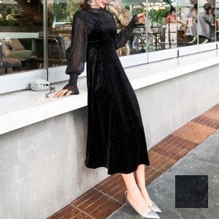 韓国 ファッション パーティードレス 結婚式 お呼ばれドレス セットアップ 秋 冬 パーティー ブライダル PTXD370  グリッター プルオーバー ロング キャミソール 二次会 セレブ きれいめ