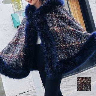 韓国 ファッション アウター ポンチョ ケープ 秋 冬 カジュアル PTXD395  ふわふわ エコファーフード ツイード風 チェック ショート コート エレガン オルチャン シンプル 定番 セレカジ