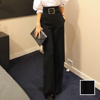 韓国 ファッション パンツ ボトムス 春 夏 パーティー ブライダル PTXA394  太ベルト ウエストマーク センタープレス ワイド オフィス 二次会 セレブ きれいめ
