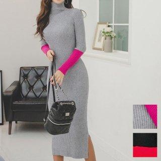 韓国 ファッション ワンピース 秋 冬 カジュアル PTXD899  ピンク レッド サイドスリット リブニット エレガント オルチャン シンプル 定番 セレカジ