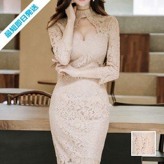 【即納】韓国 ファッション ワンピース パーティードレス ひざ丈 ミディアム 秋 冬 春 パーティー ブライダル SPTX6757 結婚式 お呼ばれ 花柄 ダイヤモンドネック 二次会 セレブ きれいめ