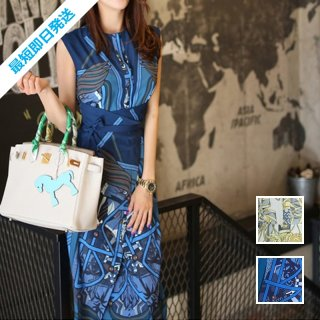 【即納】韓国 ファッション ワンピース パーティードレス ひざ丈 ミディアム 夏 春 パーティー ブライダル SPTXB517 結婚式 お呼ばれ ゴージャス レトロ スカーフ 二次会 セレブ きれいめ