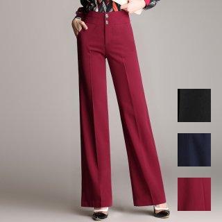 韓国 ファッション パンツ ボトムス 夏 春 カジュアル PTXE503  センタープレス ワイド ストレート オフィス パーティー エレガント フォーマル オルチャン シンプル 定番 セレカジ
