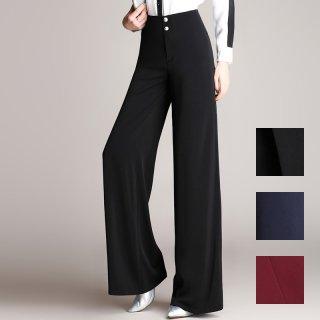 韓国 ファッション パンツ ボトムス 春 夏 カジュアル PTXE502  裾広がり ワイド オフィス パーティー 着回し エレガント フォーマル オルチャン シンプル 定番 セレカジ