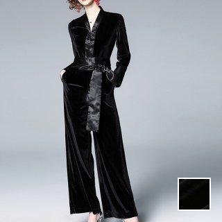 韓国 ファッション オールインワン サロペット 春 夏 パーティー ブライダル PTXE766  異素材ミックス 光沢 ウエストマーク ワイドパンツ ドレス 二次会 セレブ きれいめ