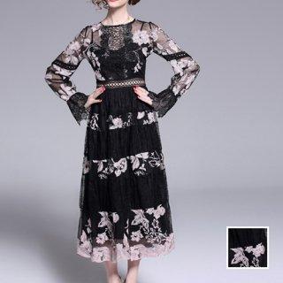 韓国 ファッション ワンピース パーティードレス ロング マキシ 夏 春 秋 パーティー ブライダル PTXE823 結婚式 お呼ばれ ゴシックレース 刺繍 ティアード Aラ 二次会 セレブ きれいめ