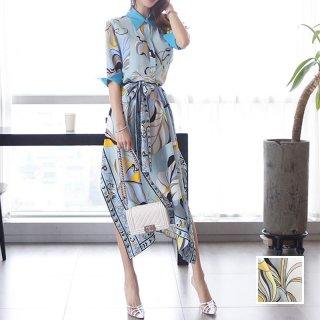 韓国 ファッション ワンピース パーティードレス ひざ丈 ミディアム 夏 春 パーティー ブライダル PTXF023 結婚式 お呼ばれ リゾートワンピース ハワイ スカーフ柄 二次会 セレブ きれいめ
