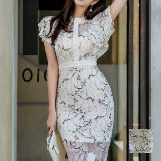 韓国 ファッション ワンピース パーティードレス ひざ丈 ミディアム 夏 春 パーティー ブライダル PTXF847 結婚式 お呼ばれ 袖コンシャス タイト ミディ丈 オケー 二次会 セレブ きれいめ