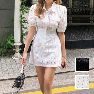 韓国 ファッション ワンピース パーティードレス ショート ミニ丈 夏 春 パーティー ブライダル PTXG119 結婚式 お呼ばれ パンチングレース 襟付き 背中見せ バッ 二次会 セレブ きれいめ
