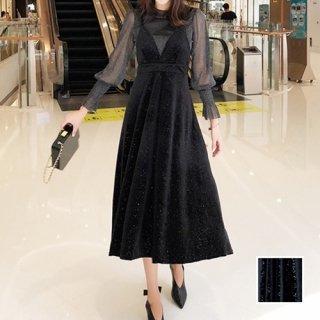 韓国 ファッション パーティードレス 結婚式 お呼ばれドレス セットアップ 秋 冬 春 パーティー ブライダル PTXG143  シースルー ロングカフス キャミワンピース 二次会 セレブ きれいめ
