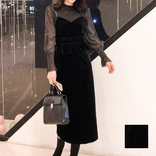 韓国 ファッション パーティードレス 結婚式 お呼ばれドレス セットアップ 秋 冬 春 パーティー ブライダル PTXG154  シースルー ペプラム タイト キャミワンピー 二次会 セレブ きれいめ