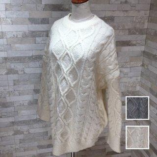 韓国 ファッション トップス ニット セーター 秋 冬 カジュアル PTXG551  北欧風 模様編み ビッグシルエット 華奢見せ オルチャン シンプル 定番 セレカジ