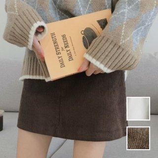 韓国 ファッション スカート ミニ ボトムス 秋 冬 カジュアル PTXG567  コーデュロイ ベイクドカラー ガーリー オルチャン シンプル 定番 セレカジ