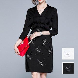 お呼ばれワンピース ドレス ミディアム 刺繍 フリル 体型カバー 秋 冬 PTXG902