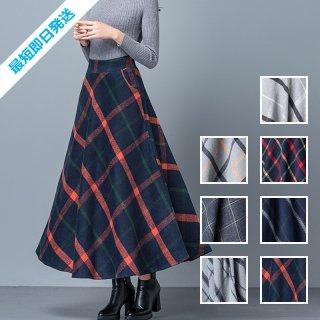 【即納】韓国 ファッション スカート ボトムス 秋 冬 カジュアル SPTX6936  ハイウエスト フレア きれいめ オーバーチェック ミディアム オルチャン シンプル 定番 セレカジ