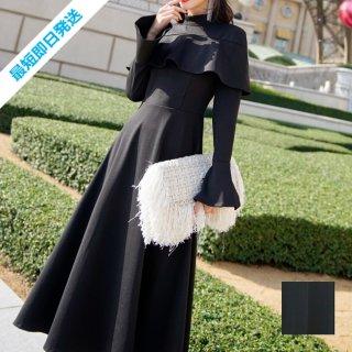 【即納】韓国 ファッション ワンピース パーティードレス ロング マキシ 秋 冬 パーティー ブライダル SPTXC533 結婚式 お呼ばれ ハイネック オフショルダー風 ベ 二次会 セレブ きれいめ