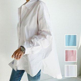 韓国 ファッション トップス ブラウス シャツ 春 夏 カジュアル PTXH430  ビッグシルエット フィッシュテール ベーシック オルチャン シンプル 定番 セレカジ