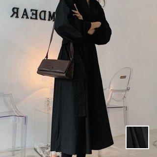 韓国 ファッション ワンピース 春 夏 カジュアル PTXH433  バンドカラー 五分袖 ギャザー Aライン 清楚 オルチャン シンプル 定番 セレカジ