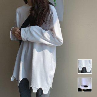 韓国 ファッション トップス Tシャツ カットソー 春 秋 冬 カジュアル PTXH442  ビッグシルエット ダメージ アクセント 着回し オルチャン シンプル 定番 セレカジ