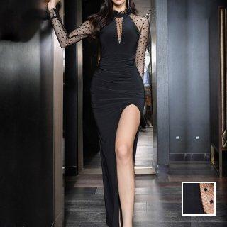 韓国 ファッション ワンピース パーティードレス ロング マキシ 春 夏 秋 パーティー ブライダル PTXH550 結婚式 お呼ばれ 深Vネック ホルターネック風 シースル 二次会 セレブ きれいめ