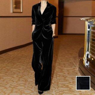 韓国 ファッション パンツ セットアップ パーティードレス 結婚式 お呼ばれドレス 秋 冬 パーティー ブライダル PTXH554  起毛 ドレープ テーラードジャケット ワ 二次会 セレブ きれいめ