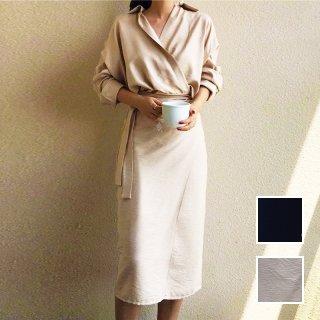 韓国 ファッション ワンピース 春 秋 冬 カジュアル PTXH836  カシュクール 襟付き ウエストマーク オフィス オルチャン シンプル 定番 セレカジ