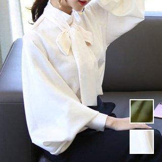 韓国 ファッション トップス ブラウス シャツ 春 夏 秋 パーティー ブライダル PTXH932  光沢 ハイネック ボリューム袖 クラシカル 二次会 セレブ きれいめ