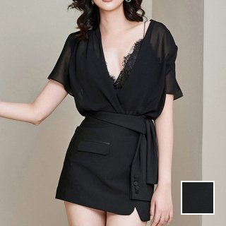 韓国 ファッション パーティードレス 結婚式 お呼ばれドレス セットアップ 春 夏 秋 パーティー ブライダル PTXH936  シアーカシュクール ジャケットモチーフ タイ 二次会 セレブ きれいめ
