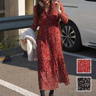 韓国 ファッション ワンピース 春 夏 秋 カジュアル PTXH957  小花 カシュクール シアー シワ加工 エレガント オルチャン シンプル 定番 セレカジ