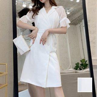 韓国 ファッション ワンピース パーティードレス ひざ丈 ミディアム 春 夏 パーティー ブライダル PTXF549 結婚式 お呼ばれ リゾートワンピース ハワイ シアー 異 二次会 セレブ きれいめ