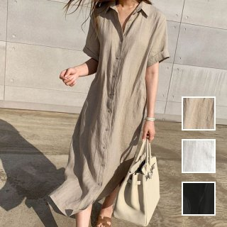 韓国 ファッション ワンピース 春 夏 カジュアル PTXI046  フロントボタン ゆったり シアー シンプル ラフ オルチャン シンプル 定番 セレカジ