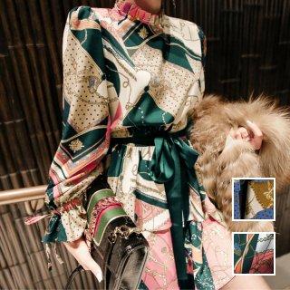 韓国 ファッション ワンピース パーティードレス ショート ミニ丈 春 夏 秋 パーティー ブライダル PTXI102 結婚式 お呼ばれ 渋色 スカーフ柄 スタンドカラー テ 二次会 セレブ きれいめ