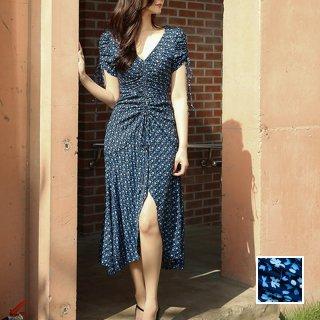 韓国 ファッション ワンピース 夏 春 カジュアル PTXI103  小花 深Vネック パフスリーブ フィッシュテール オルチャン シンプル 定番 セレカジ
