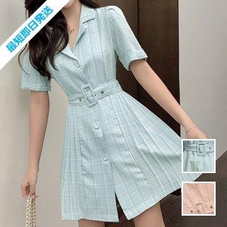 【即納】韓国 ファッション ワンピース 夏 春 カジュアル SPTXI125  淡色 チェック プリーツ パフスリーブ Aライン オルチャン シンプル 定番 セレカジ