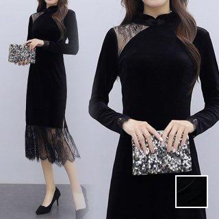 韓国 ファッション ワンピース パーティードレス ロング マキシ 秋 冬 春 パーティー ブライダル PTXI297 結婚式 お呼ばれ シースルー チャイナドレス風 フリンジ 二次会 セレブ きれいめ