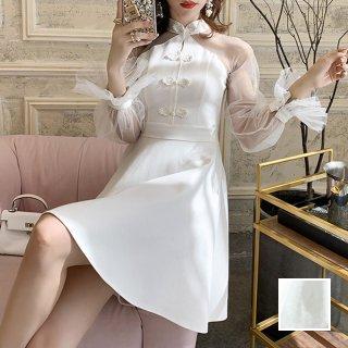 韓国 ファッション ワンピース パーティードレス ショート ミニ丈 夏 春 秋 パーティー ブライダル PTXI324 結婚式 お呼ばれ シースルー キャンディースリーブ風  二次会 セレブ きれいめ