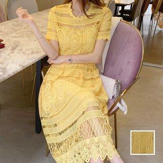韓国 ファッション ワンピース パーティードレス ロング マキシ 夏 春 パーティー ブライダル PTXI326 結婚式 お呼ばれ シースルー はしごレース エレガント Aラ 二次会 セレブ きれいめ