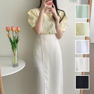 韓国 ファッション セットアップ 夏 春 カジュアル PTXI417  パフスリーブ ハイウエスト アシンメトリー オルチャン シンプル 定番 セレカジ