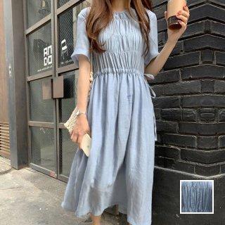 韓国 ファッション ワンピース 夏 春 カジュアル PTXI421  ゆったり ペールカラー ギャザー マキシ丈 オルチャン シンプル 定番 セレカジ