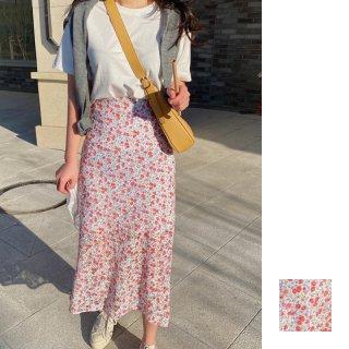韓国 ファッション セットアップ 夏 春 カジュアル PTXI427  フェミニン 小花 セミタイト 2点セット オルチャン シンプル 定番 セレカジ