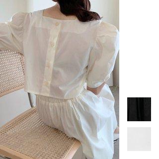 韓国 ファッション ワンピース 夏 春 カジュアル PTXI432  バックコンシャス パフスリーブ フェミニン オルチャン シンプル 定番 セレカジ