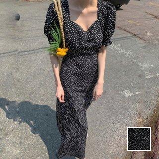 韓国 ファッション ワンピース 夏 春 カジュアル PTXI450  小花 モノトーン マキシ パフスリーブ Aライン オルチャン シンプル 定番 セレカジ