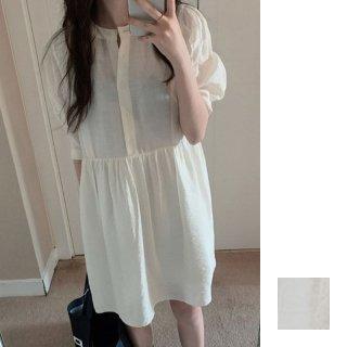 韓国 ファッション ワンピース 夏 春 カジュアル PTXI466  ギャザーディテール ゆったり パフスリーブ オルチャン シンプル 定番 セレカジ